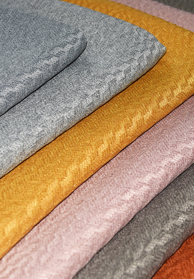 High Quality 100% Polyester Linen-look Dimout Fabric  For Curtain